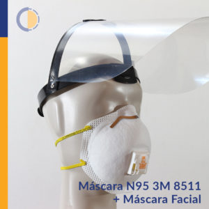 COMBO Máscara N95 3M + Máscara protectora facial con visera rebatible